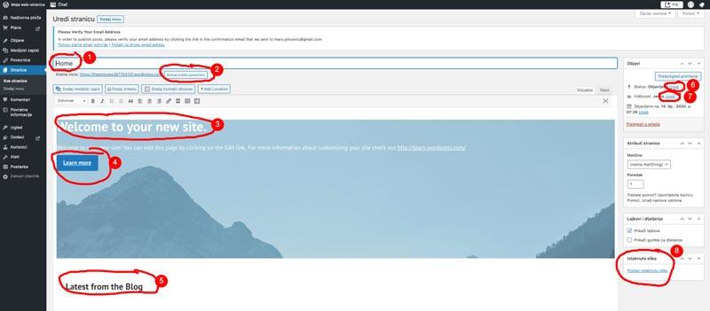 Wordpress promjene na stranici